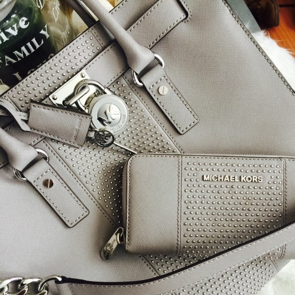 3af2537c969d Michael Kors Bags | Mk Large Pearl Grey Hamilton Tote And Wallet ...
